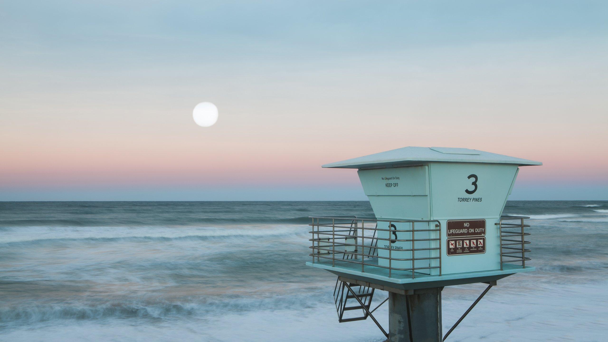 Pink Moonset - Pacific Ocean San Diego, California